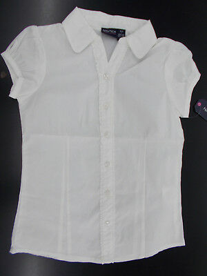 Girls Nautica $24 White Uniform Button Down Shirt w/ Ruffles Size 7 - 16