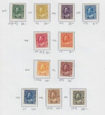 1911 - 1925 Canada Issue King George V Admiral Issues Nh H Lh Sct.105 - 119 122
