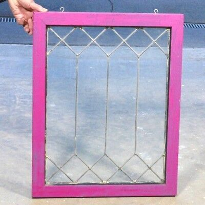 """Old Antique 25"""""""" x 20"""" LEADED GLASS WINDOW Clear Glass Panels in Wooden Frame"""