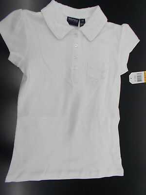 Girls Nautica $24 White Uniform Polo Shirt w/ Lace Size 7 - 16