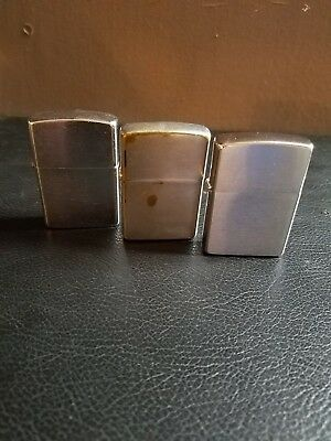 Vintage 1960 Zippo Pat # 2517191 Flip Top Cigarette Lighter Plain - Lot Of 3