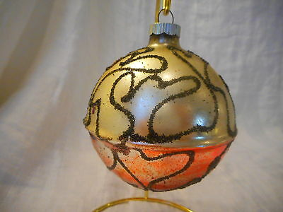 Round Vintage Mercury Glass Christmas Ornament Black Glitter Mica Red Silver