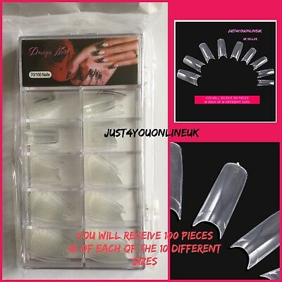 False Nail Tips Natural Clear Stiletto Almond Display Nails White Acrylic Pre