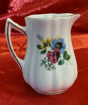 """Vintage Rosina Fine Bone China Creamer Cream Pitcher Floral about 3 1/4"""" tall"""