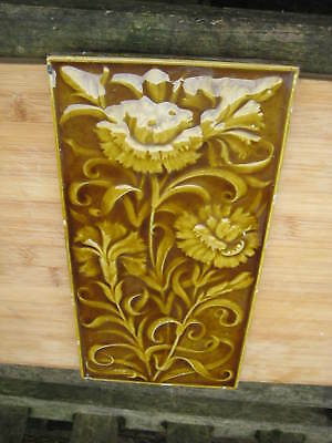 Large Victorian Minton Aesthetic Majolica Sunflower Tile / Plaque