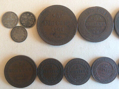 Imperial Russian Coins, 38 coin lot, Silver and Copper, 1737-1917