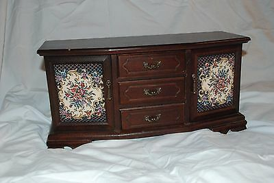Vintage Wooden Jewelry Box with Tapestry sides and removable drawers