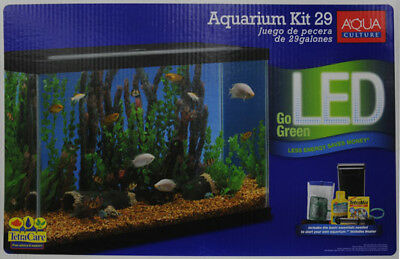 29 Gallon LED Aquarium Deluxe Kit Complete Set Fish Tank Tetra Food Filter Glass