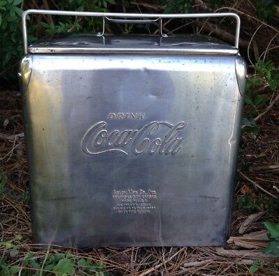 Vintage 1950s Coca Cola Stainless Picnic Cooler!