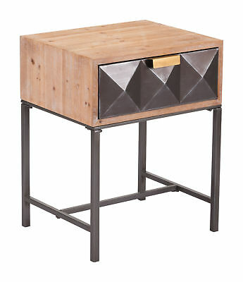 Zuo Indoor Steel And Wood Side Table In Antique Finish A10691