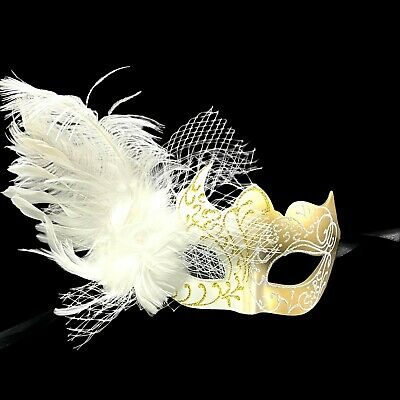 Gold & White Beautiful Inspired Butterfly Women Masquerade Mask with feather