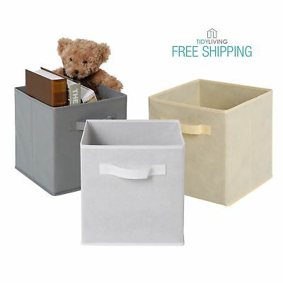 Tidy Living   Collapsible Fabric Basket Bin Storage Solution Organizer Cube