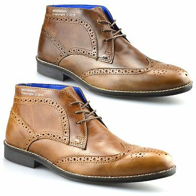 Mens New Leather Smart Casual Chelsea Dealer Work Ankle Brogue Boots Shoes Size