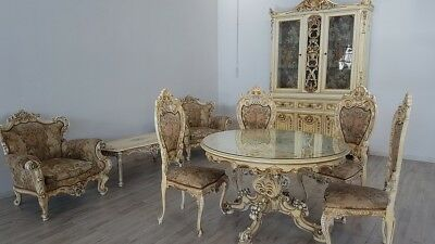 Beautiful Antique Dining Room Set Italian Baroque Venetian Lacquered And Painted