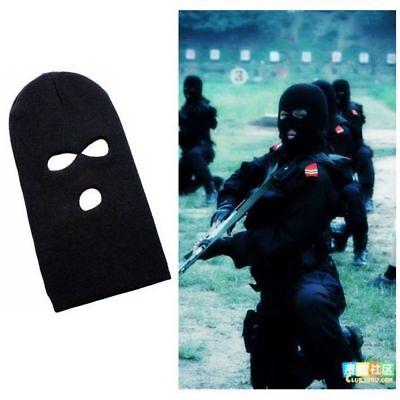 Warm Camping Cover Beanie 3 Hole Ski Mask Face Shield  Cap Black Knit Hat