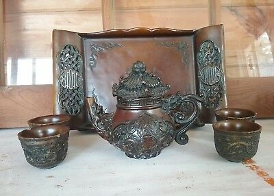 Asian/Chinese  Hard Wood Tea set w/ Tray Ornate craftsmanship Fancy BUY IT NOW