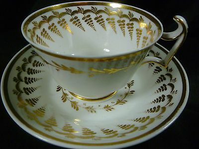ANTIQUE SPODE TEA / COFFEE CUP AND SAUCER LONDON SHAPE LUSH GOLD GILT c1815-20