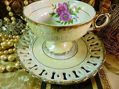Japan Tea Cup And Saucer Mother Of Pear Hp Pink Rose Reticulated Gold Trim