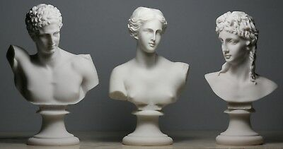 APHRODITE (VENUS) & HERMES & EROS SET 3 Greek Roman God Bust Head Statue