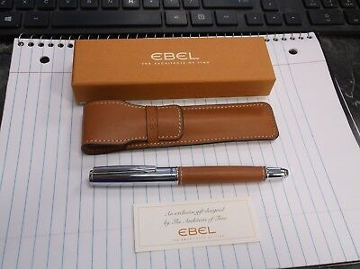 "Ebel Leather Stitch & Chrome 5 3/8"" Long Rollerball Pen in Original Box"