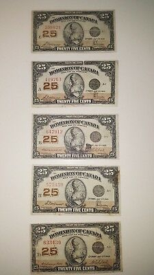 Bank Of Canada 1923- 5  - .25 Cent Notes   Selling  For $27 Each
