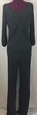 La Leche League International Gray Pajama Set Ruched Size Medium Rayon Blend