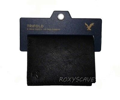 Nwt American Eagle Outfitters Mens Leather Trifold Wallet New Black Aeo