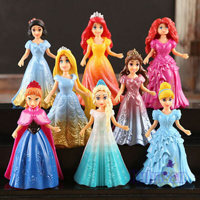 8 Sets Cute Figures Kawaii Gift Girl's Princess Changed Dress Doll Action Toy