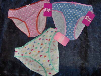 Girls Pink Angel Spot Briefs - One Pair  - Ages 5/6 - 13/14Y Pink - White - Blue