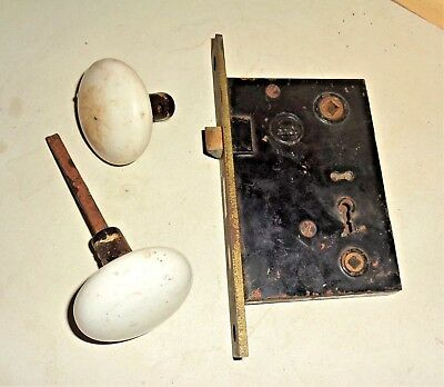 Antique Vintage Porcelain Door knobs w/ Spindle & Large RHC Mortise Lock Set