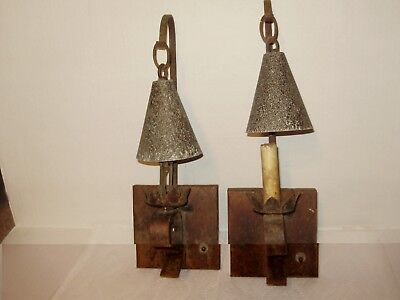 A Pair Of 1920's Spanish Revival-Iron & Tudor Metal Wall Scones- Electric