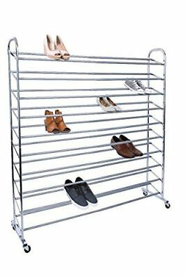 Tidy Living 10 Tier Space Saving 80 Pairs Shoe Rack, Silver