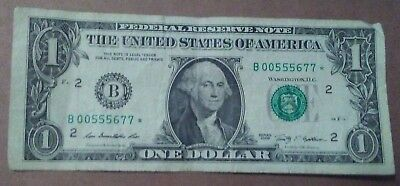 2009 $1 Dollar Bill Star Note Low Serial Number Circulated B 00555677 *