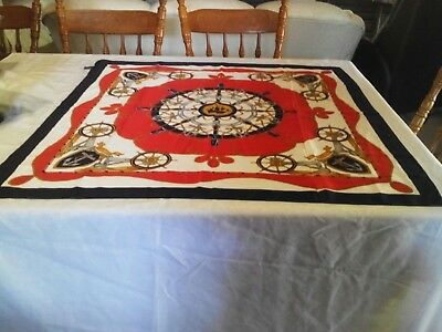 VIVA l'ITALIA! NWOT:Beautiful LARGE Navy,Red,Ivory SCARF(Made in Italy) 89x88cm