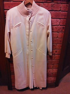 CHIC Cream Wool ITALIAN Long Slimline Coat + Vintage PRUE ACTON Dress+ BONUS Hat
