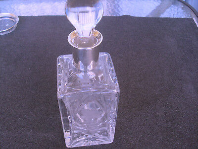 Vintage crystal glass decanter with stopper and sterling neck