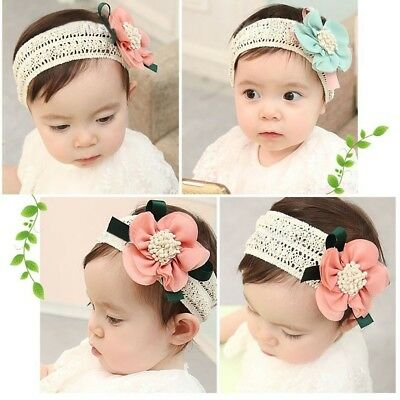 Soft Cute Kids Baby Girls Toddler Lace Flower Hair Headwear Headband Acces Ullm