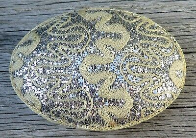 Exotic Bling Stitched & Leather Handmade Womens 1980's Vintage Belt Buckle