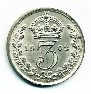 1902 Uncirculated Great Britain Silver 3 Pence
