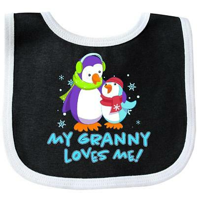 Inktastic My Granny Loves Me Baby Bib Family Penguins Cute Penguin Christmas