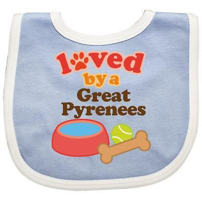 Inktastic Great Pyrenees Loved By A (Dog Breed) Baby Bib Dogs Pets Mom Dog Gift