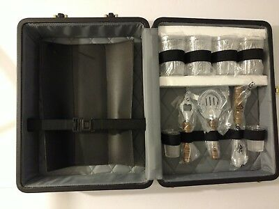 NEW!  Vintage SERGIO VALENTE Portable Travel Bar Set Glasses Brown Lockable Case