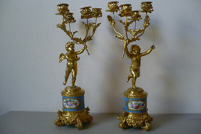 Antique French Ormolu Sevres 19th Century Candelabras. A Pair.