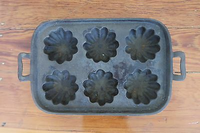 Vintage cast iron aluminum muffin biscuit baking pan mold heavy duty steel bake