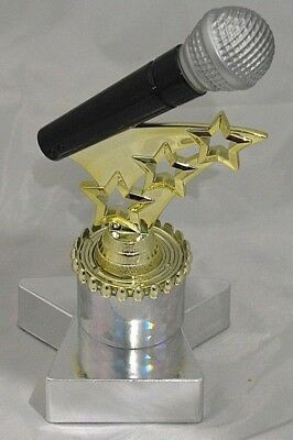 Microphone with Stars Figurine Trophy 160mm Engraved FREE