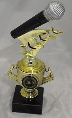 Microphone Trophy with Stars on Mini Gold Cup 185mm Engraved FREE