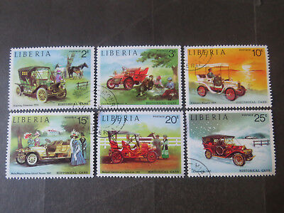 Liberia Vintage Cars - Set of 6 - 1973 - Good Used/cto Condition