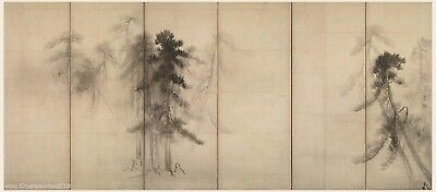 Japanese old screen painting Pinetree woods Sumi Ink Free handed style 2