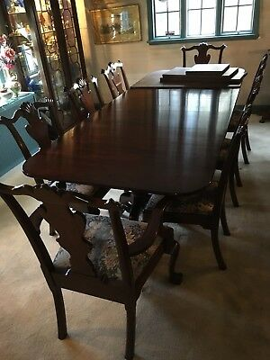 Vintage Henkel-Harris Genuine Mahogany Dining Room Set Table Chairs Lowboy...