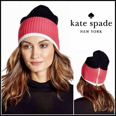 2fa1428e41757 Kate Spade Beanie Hat Zip Up Colorblock Knit Black Pink White One Size New   78